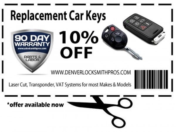 10% Off Replacement Car Key Cutting & Programming in Denver